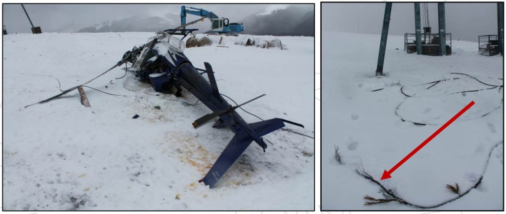 Dunca Expeditii Airbus Helicopters AS350B3 YR-DEX Wreckage and Severed Chairlift Cable (Credit: AIAS Romania)