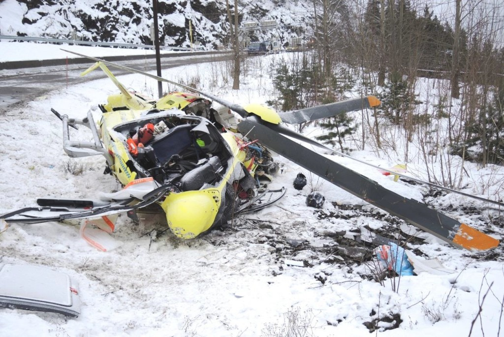 Wreckage of Norsk Luftambulanse HEMS Airbus Helicopters EC135P2+ LN-OOI (Credit: AIBN)
