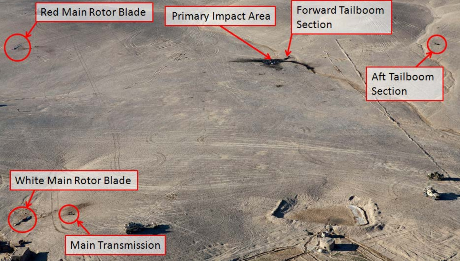 Accident Site of AAR Airlift Bell 214ST B5748M in Helmand (Credit: DOD via NTSB)