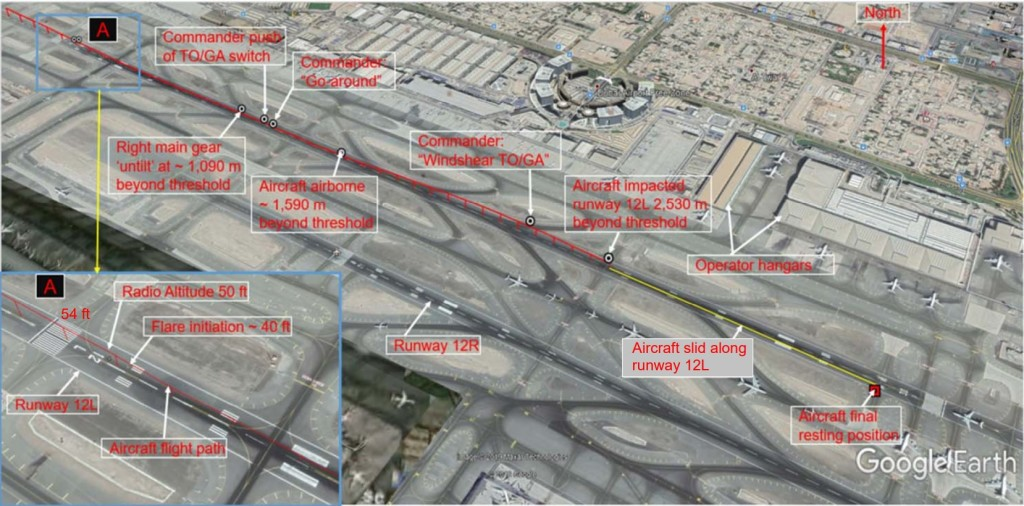 a6emw b777 dubai accident sequence