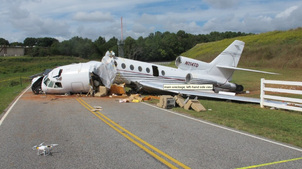 Wreckage of Dassault Falcon 50 N114TD at  Greenville Downtown Airport, SC (Credit: NTSB)