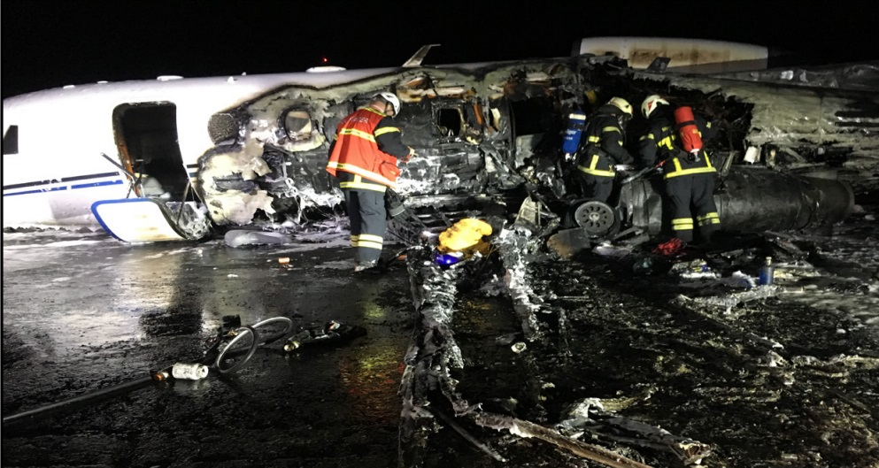Wreckage of Cessna 560 XLS+ D-CAWM of Aerowest at Aarhus (Credit: AIB Denmark)