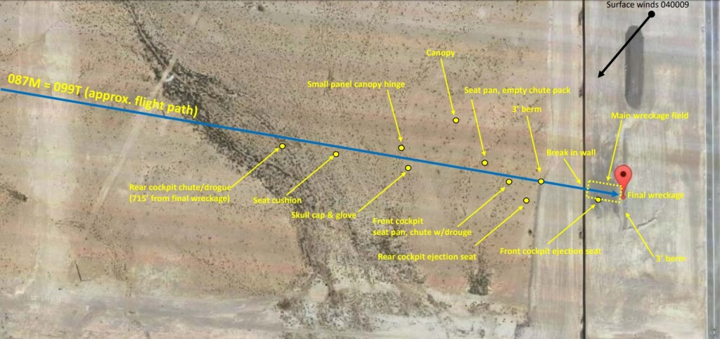 Debris Plot for Draken International Douglas TA-4K Skyhawk  near Nellis AFB (Credit: NTSB)