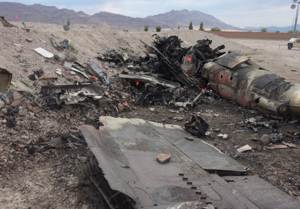 Wreckage of Draken International Douglas TA-4K Skyhawk  near Nellis AFB (Credit: NTSB)