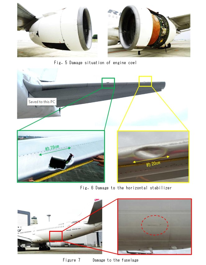 Fuselage Damage to Japan Airlines Boeing 777-289 JA8978 (Credit: JTSB)