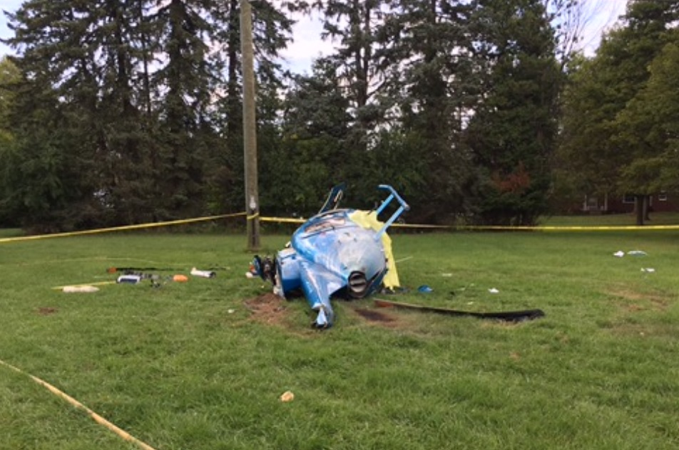 Wreckage of Private MD Helicopters 369E (500E) After Goose Encounter (Credit: FAA via NTSB)