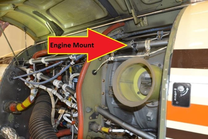 Bering Air Beechcraft King Air 200 N363JH Damaged Engine Mount (Credit: Bering Air via NTSB)