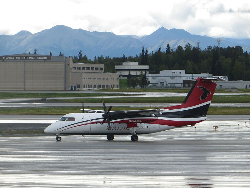 Era Aviation Bombardier Dash 8-100 N886EA at Anchorage in August 2016 after the Operator was Renamed Ravn (Credit: Sunnya343 CC BY-SA 4.0