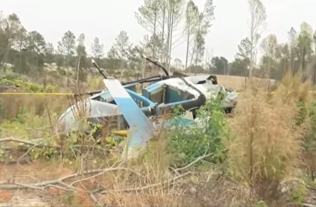 Wreckage of Helicopter Applicators Bell / Rotorcraft Development OH-58C N139RD in Cameron, NC