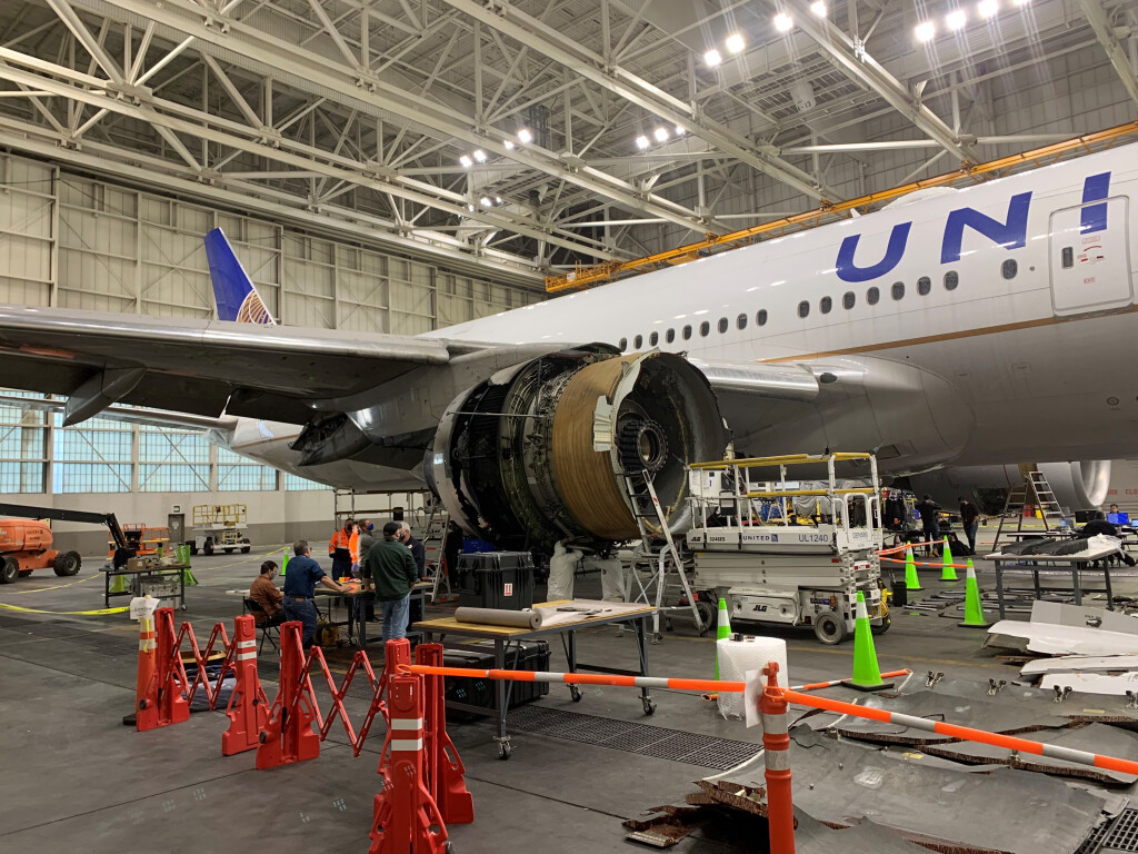 United Airlines Boeing 777-222 N772UA in a Hangar in Denver, CO After the FBO Event (Credit: NTSB)