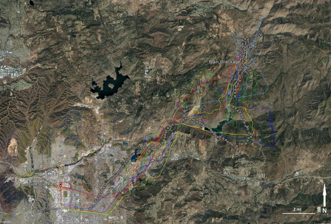 Sky Combat Ace (SCA) Extra EA300 N414MT Route to El Capitan Reservoir, Four Corners, CA on Avvident Flight (White Dots) with Previous Flights by the Same Pilot Marked Too (Credit: NTSB)