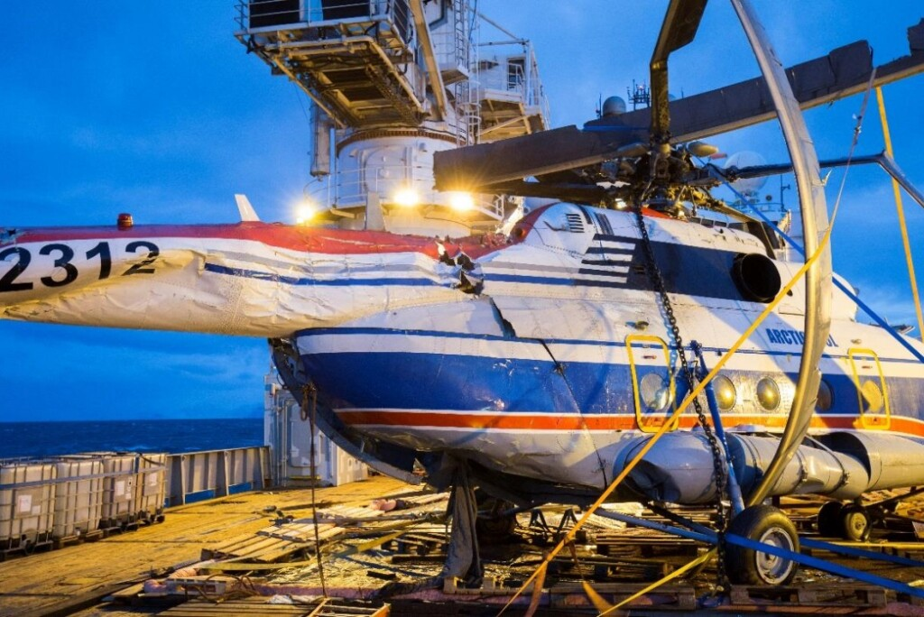 Salvaged Wreckage of Mil Mi-8AMT RA-22312 of Convers Avia in Svalbard (Credit: AIB Norway)