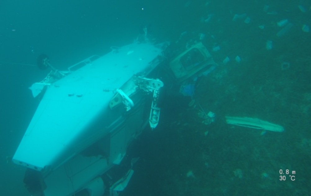 Wreckage of AW139 N32CC off Big Grand Cay, Bahamas (Credit: Police/AAID via NTSB)