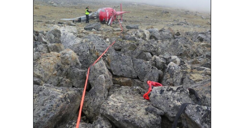 Wreckage of Air Greenland Airbus AS350B3 OY-HGT at Dye One Comms Site (Credit: AIB Denmark)