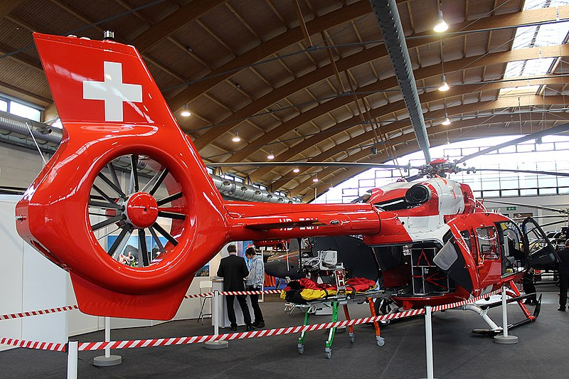 Rega HEMS Airbus H145 (BK117D2) HB-ZQM at Friedrichshafen 10 April 2019 (Credit: Mike Burdett CC BY-SA 2.0)