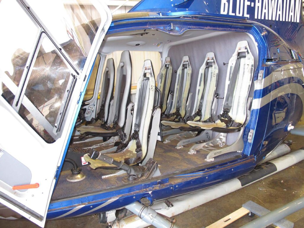 Cabin of Blue Hawaiian Helicopters Airbus EC130T2 - Seat Cushions Have Been removed - Note Varied Seat Stokes (Credit: NTSB)