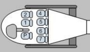 Seat Layout of Blue Hawaiian Helicopters Airbus EC130T2 N11VQ (Credit: NTSB)