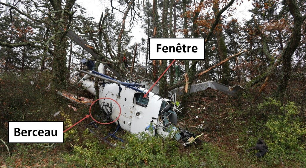 Wreckage of Airplus Hélicoptères Airbus AS350B3 F-GKMQ  after HESLO Accident (Credit: BEA)