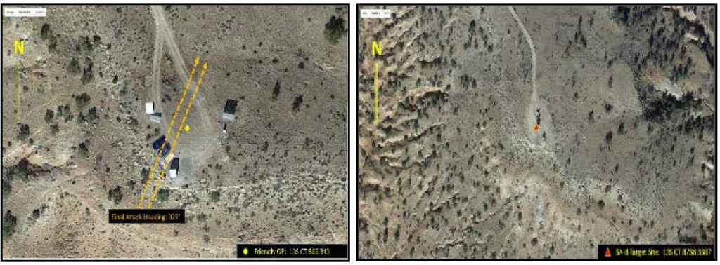 The OP (left) Showing the Attack Direction and the SA-8 Target (right) Showing the Site Layout (Credit: USAF AIB)