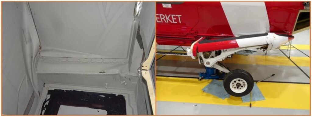Damage to SMA SAR Leonardo Helicopters AW139 SE-JRM After Training Accident (Credit: SHK)