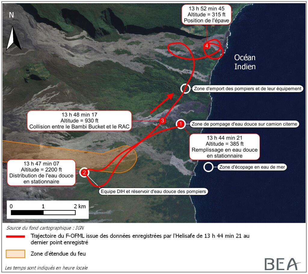 Route of Hélilagon Airbus AS350B3e / H125 While HESLO Fire-Fighting at the Piton de la Fournaise Volcano, Réunion (Credit: BEA)