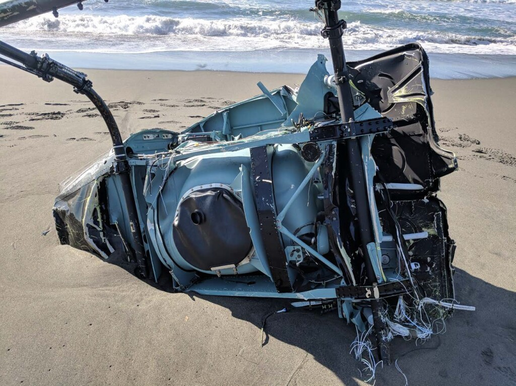 Wreckage of Airbus Helicopters AS350Be (H125) N907PL on an Alaskan Beach (Credit: NTSB)