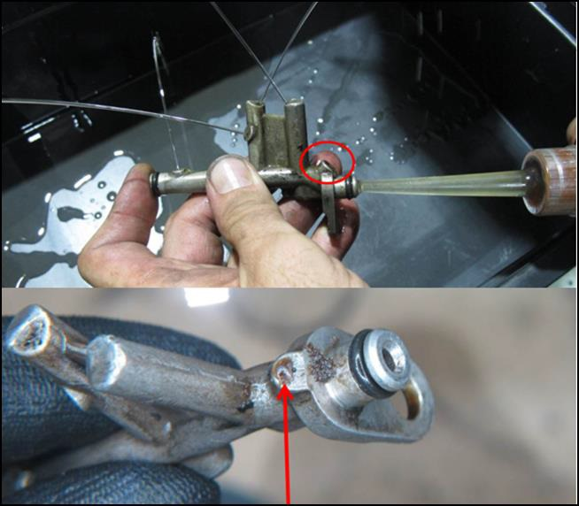 Blocked Oil Feed for Number 2 Engine Bearing of Bell 206B PT-HPG (Credit: CENIPA)