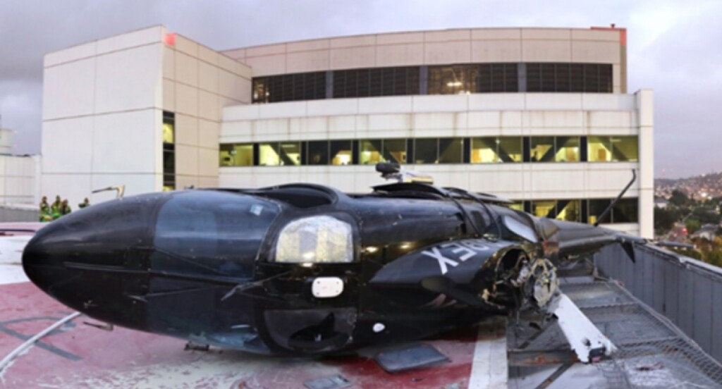 Wreckage of Helinet Aviation Services / Prime Healthcare Leonardo Helicopters A109S on Rooftop Helipad of Los Angeles Co/USC Medical Center Heliport (35CA), Los Angeles (Credit: NTSB)