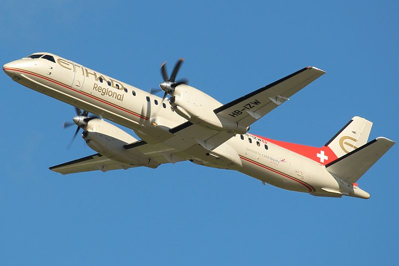 Darwin Airline (Etihad Regional) Saab 2000 HB-IZW Departing from Düsseldorf in 2014 (Credit: ISORauscht CC BY-SA 4.0)