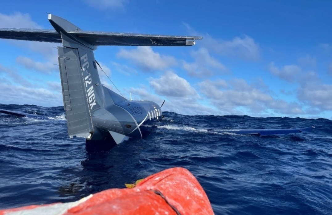 Pilatus PC-12 N400PW After Ditching in the Pacific During a Ferry Flight (credit: via NTSB)