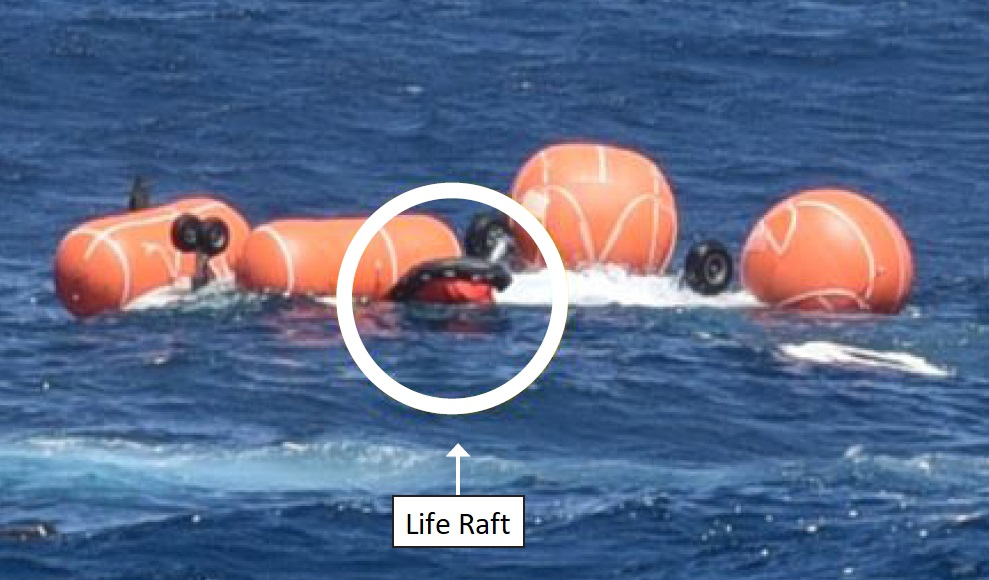 Pilot's Inflated Individual Life Raft (Credit: RNLN)