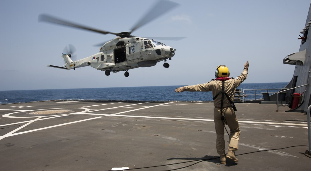 An NH90 Operating on the helideck of a Warship of the Royal Netherlands Navy (Credit: NL Ministry of Defence)