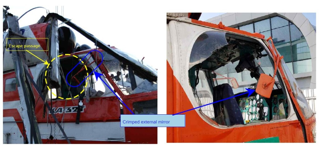 KFS Kamov Ka-32T HL9419 Pilots Egressed Through the Damaged Right Hand Bubble Window after Water Impact (Credit: ARAIB)