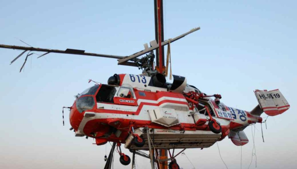 Wreckage of Korea Forest Service (KFS) Kamov Ka-32T HL9419 Beong Recovered after Water Impact (Credit: ARAIB)