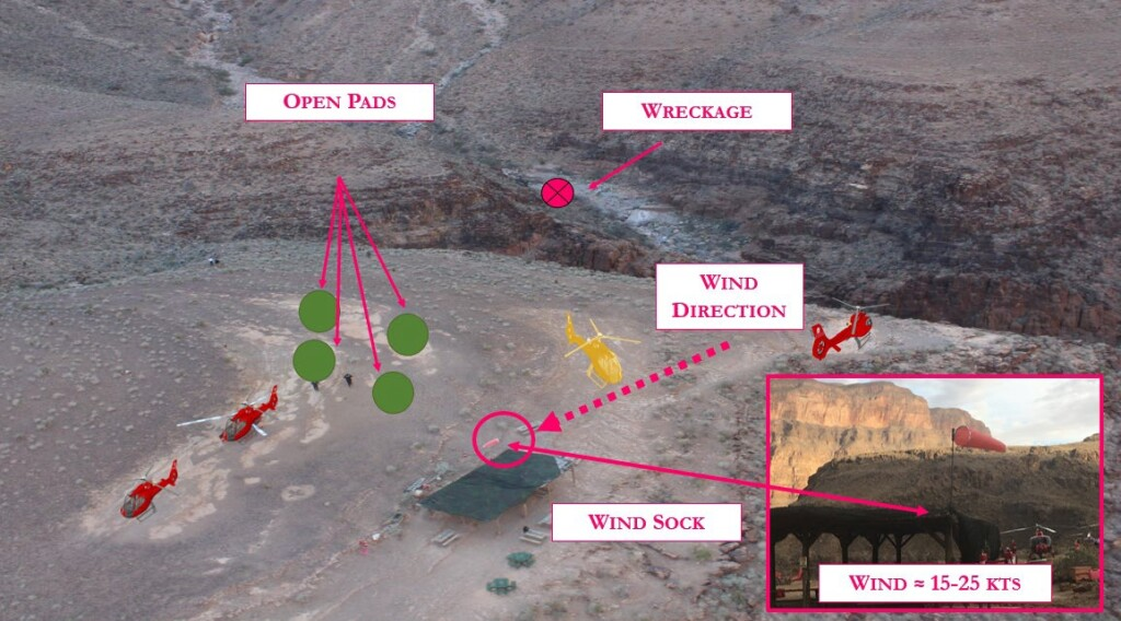 Direction of Approach of Papillion Airbus EC130B4 N155GC, to Quartermaster, Grand Canyon (Credit: NTSB)