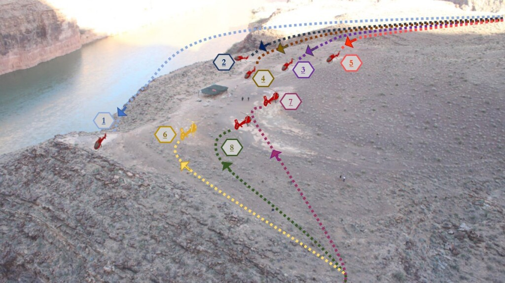 Previous Approach Paths to the Papillion Quartermaster Landing Area, Grand Canyon (Credit: NTSB)