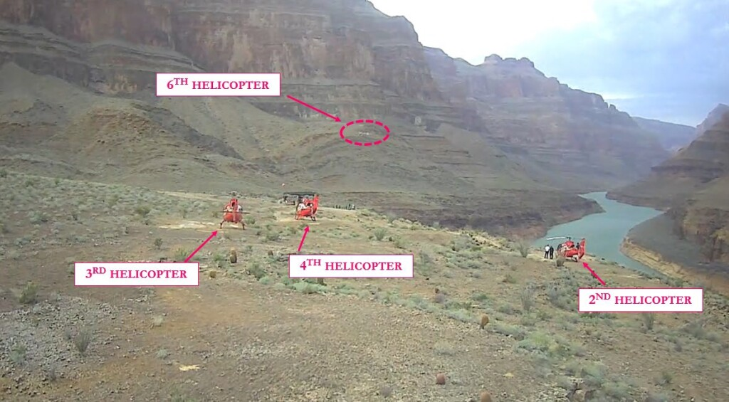 View from 5th Aircraft as 6th Aircraft Approaches the Papillion Quartermaster Landing Area, Grand Canyon (Credit: via NTSB)