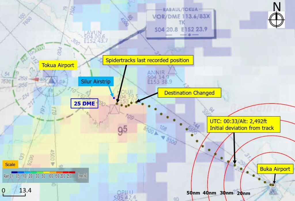 Route of Airbus BK117C1 P2-TAH of Tribal Aurora Helicopters (Credit: PNG AIC)