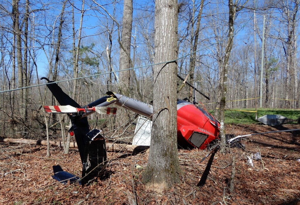 Wreckage of Rotor Blade LLC Hughes 369 / 500 N89ZC After Aerial Saw Accident 2019 (Credit: NTSB)
