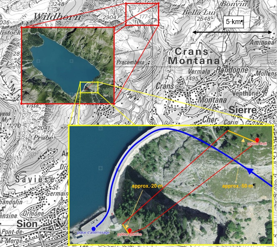 Air-Glaciers Airbus AS350B3 HB-ZCZ Wire Strike: The approximate course of the helicopter in the final approach phase from the SE side (dotted blue line) shown on the Web-GIS online obstacle map4Obstacle Map (WeGOM). The route of the power line (red line) with a length of 227 m to the south of the dam is offset by approximately 20 respectively 50 meters from the actual route (dotted red line) (Source: Federal Office for Topography via SUST)