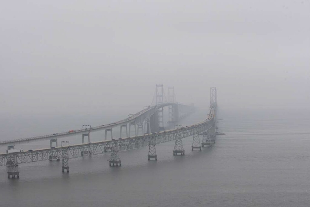 Photo from Guimbal Cabri G2 N572MD as it Routed East Alongside the Chesapeake Bay Bridge at 11:52:06 (Credit: Via NTSB)