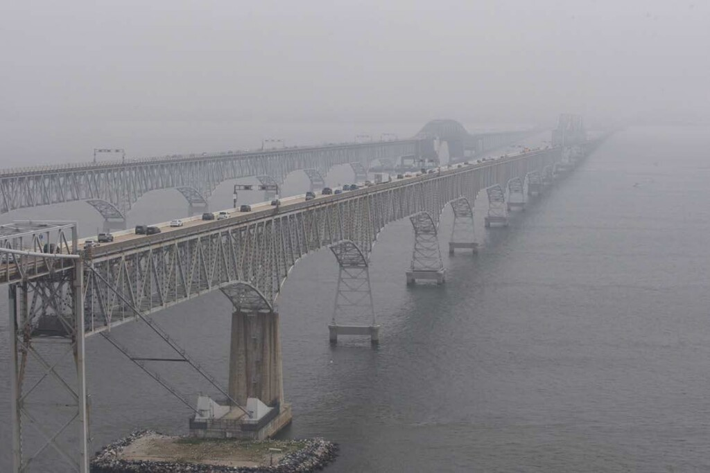 Photo from Guimbal Cabri G2 N572MD as it Routed East Alongside the Chesapeake Bay Bridge at 11:53:00 (Credit: Via NTSB)