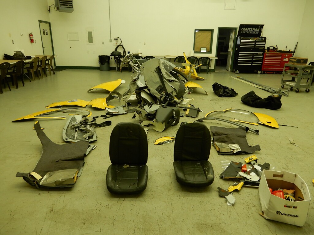 Wreckage of Guimbal Cabri G2 N572MD (Credit: NTSB)