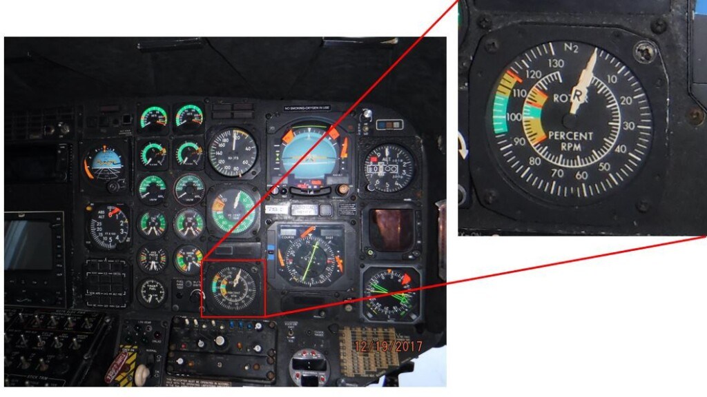 Pilot Side Instrument Panel with N2 and Nr Thumbnail (Credit: NTSB)