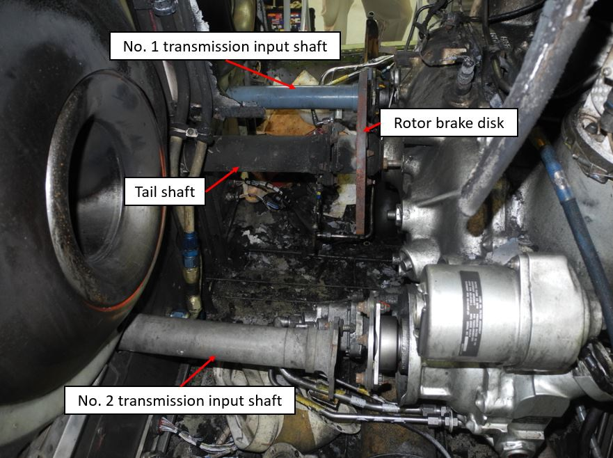 Overall View of Intake, Transmission and Rotor Disk Compartment After Removal of Several Components to Facilitate Examination: Trauma Star S-76A++ Air Ambulance N911FK (Credit: NTSB)