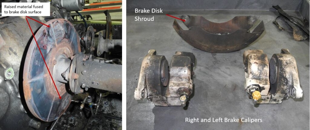Close up View of Rotor Brake Disk and Calipers After Removal. Note the Raised Material Fused to the Surface of the Disk.  Trauma Star S-76A++ Air Ambulance N911FK (Credit: NTSB)