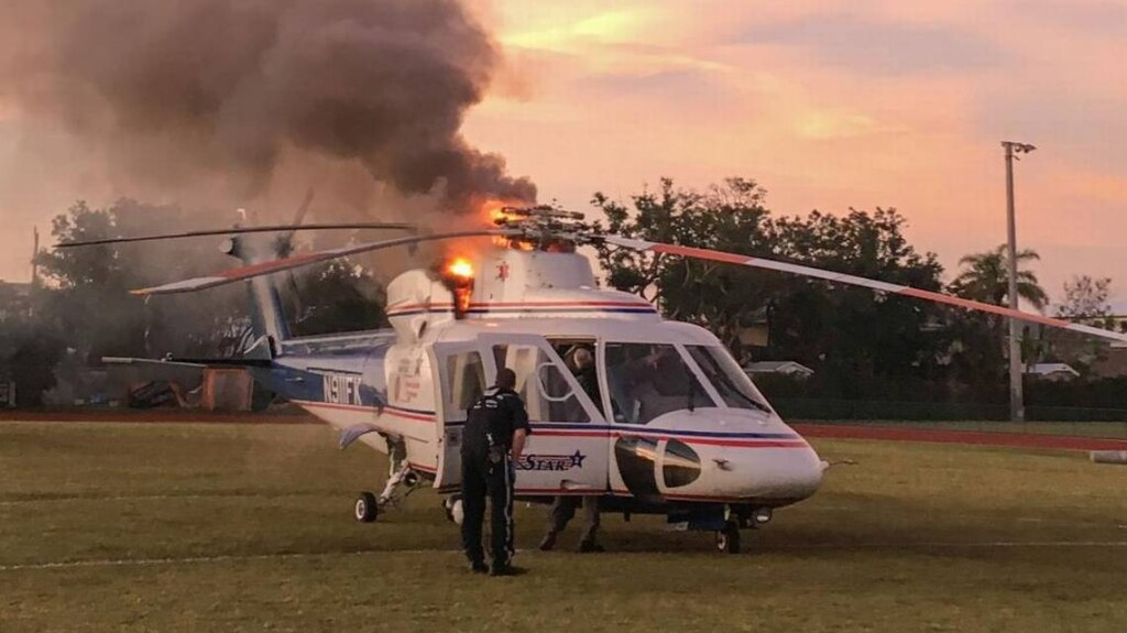 Rotor Brake Fire Trauma Star S-76A++ Air Ambulance N911FK (Credit: Fire Department)