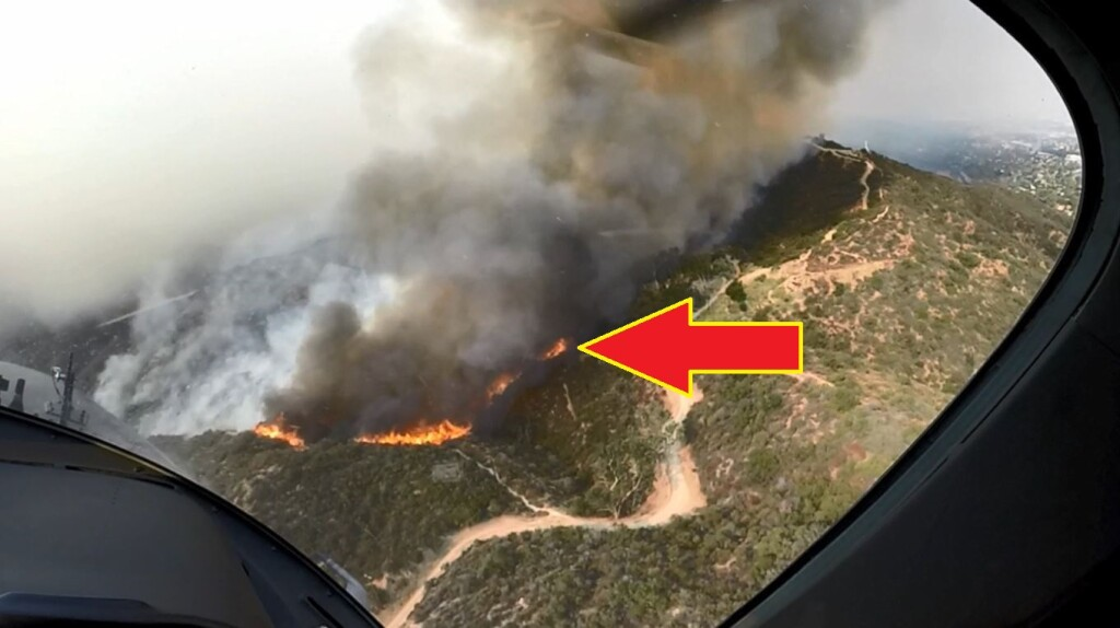 Site of Residential Property During Fire - LAFD AW139 N304FD LOC-I (Credit: LAFD via NTSB)