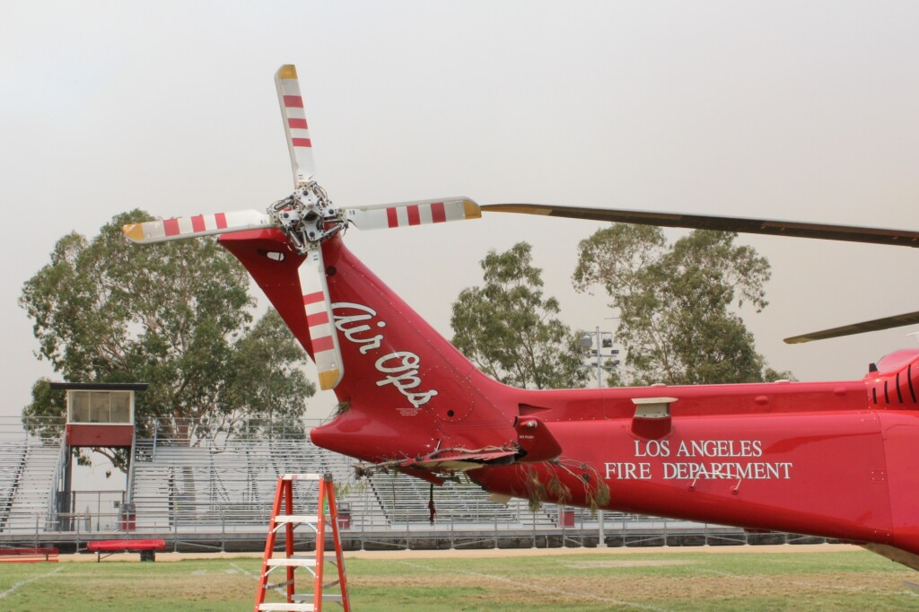 Damage to LAFD AW139 N304FD after LOC-I and Tree Collision (Credit: NTSB)