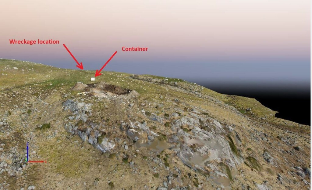 3D illustration of the accident site, looking northeast, the day after the helicopter was removed. The hole in the ground is for pylon 155. (Credit: Nordic Unmanned via NSIA)